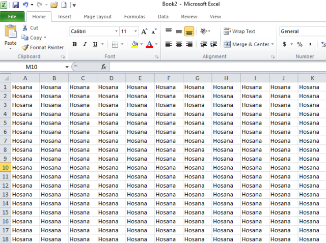 Hosana in Excel Sheets